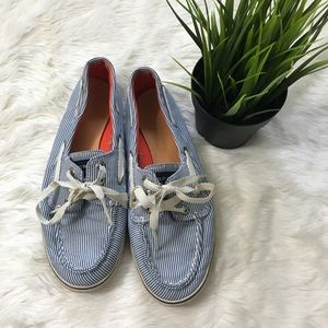 Sperry sneakers blue white striped lace up shoes
